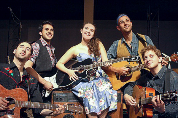 The cast includes from left: Nick Orfanella, Zack Zaromatidis, Morissa Trunzo, Patrick Henkel, and Steven Makropoulos. Photo by David Leidholdt