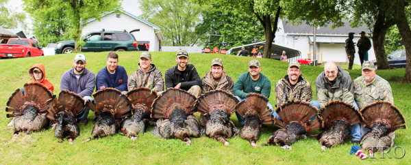 A group of successful hunters pose with their harvests on the second and final day of the 2016 Energy Invitational Spring Turkey Hunt held this past weekend in Castanea.