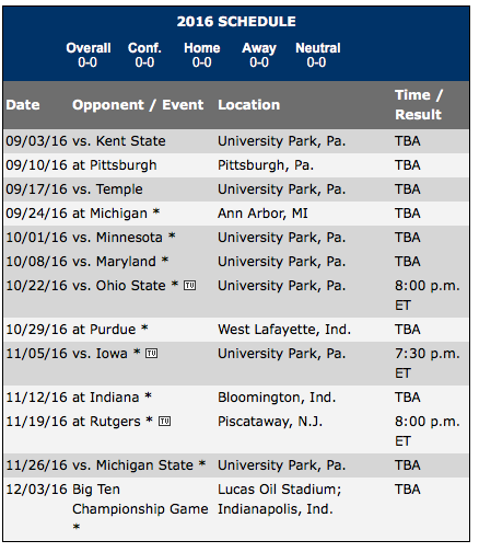 Penn State 2016 Football Schedule The Record Online