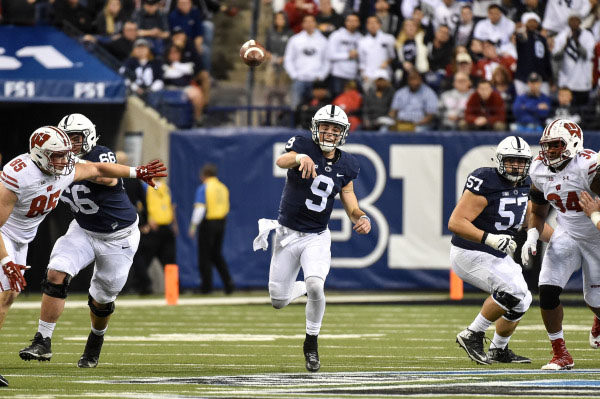 Penn State's Trace McSorley (9) during first quarter action of the Nittany Lions game with Wisconsin. Photo courtesy of Penn State Sports