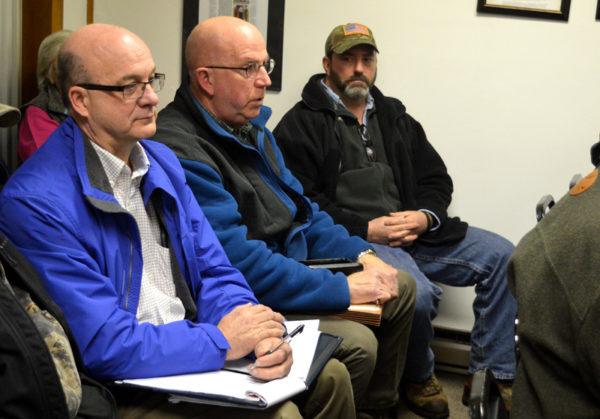 First Quality Director of Engineering Kerry Moore, left, and Glenn O. Hawbaker Inc. Director Mike Welch, center, speak to the Woodward Township supervisors about the excavation site in Woodward Township during the special meeting Jan. 31, 2017.