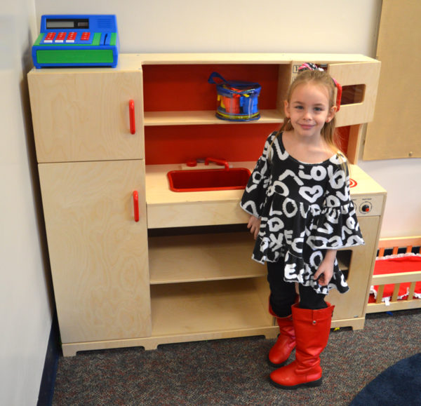Briar is seen with the students' play kitchen.