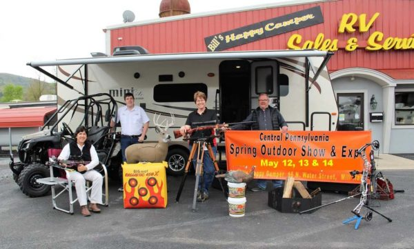 The second annual Central Pennsylvania Spring Outdoor Show will be held May 12, 13 and 14 on the grounds of Bill's Happy Camper RV Sales & Service in Mill Hall. Pictured from left are show planners Clinton County Economic Partnership tourism director Julie Brennan, Michael Frank from Dotterer Equipment, Inc., Beth Miller Bason from Miller's Gun Shop, and Bill Miller of Bill's Happy Camper.