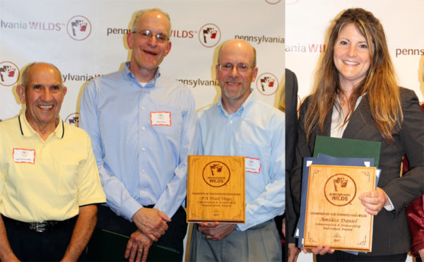 At left, accepting the Conservation Stewardship Award (Group) on behalf of the PA Trail Dogs were Carl Undercofler, Bob Farley and Stacey Hibbler; at right, Amidea Daniel earned the Conservation Stewardship Award (Individual).