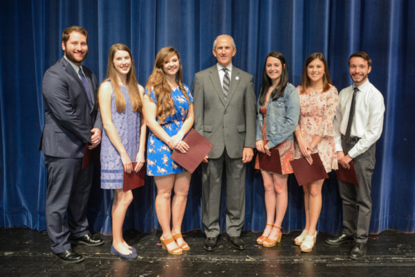 Photo 2 Caption: LHU's academic honors recipients stand with University President, Dr. Michael Fiorentino, Jr. L-R: Zachary Bair (Hermitage, PA) Alexa Mantle (Jersey Shore, PA) Kassidee Kirkwood (DuBois, PA)President Fiorentino, Abigail Shaffer (Portage, PA) Meghan Tanner (Kingston, PA) Andrew O'Donnell (Bellefonte, PA)